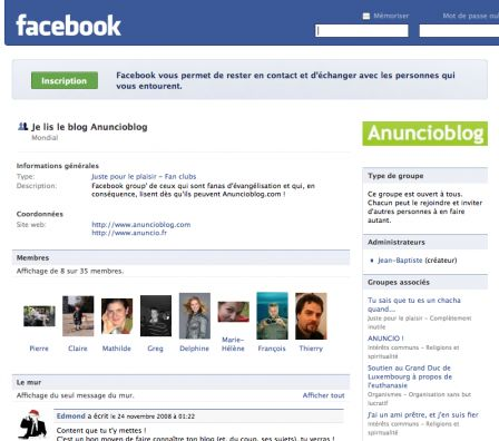Capture d'Anuncioblog sur Facebook