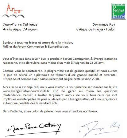 Lettre Mgr Rey - Mgr Cattenoz - Communion-Evangélisation